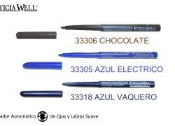 Lápiz de Ojos y Labios Automático  Ref. 33306 CHOCOLATE Ref. 33305 AZUL ELECTRICO Ref. 33318 AZUL VAQUERO