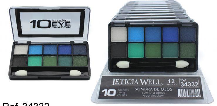Sombra de Ojos 10 Colores Azul y Verde  Ref. 34332